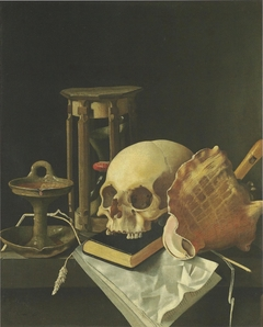 Vanitas Still Life with skull and hourglass