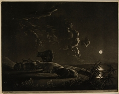 View on the Banks of a River by Moonlight (mezzotint)