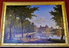 Vue du château de Fontainebleau avec Henri IV relevant Sully