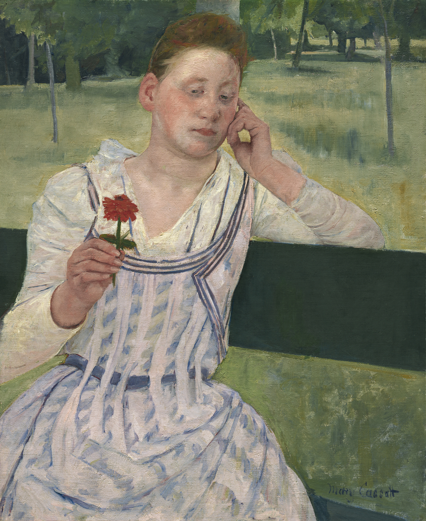 Woman with a Red Zinnia