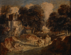 Wooded Landscape with Mounted Peasants