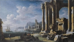 A capriccio of architectural ruins with a seascape beyond