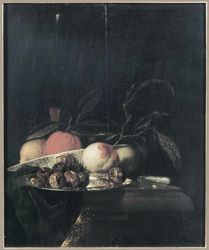 A lemon and orange in a porcelain bowl, a glass of wine, dates on a silver plate, an apple, a peach and a knife, all on a partially draped table