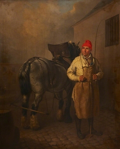 A Man in a Red Hat with a Whip and a Horse