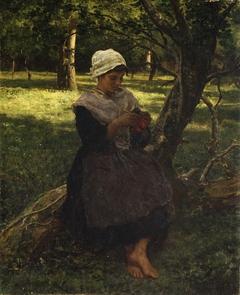 A Peasant Girl Knitting