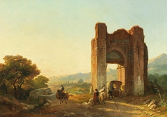 A Romantic Landscape with Mauritanian Ruins and Figures
