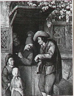 An Itinerant Hurdy-Gurdy Player by the Door of a House