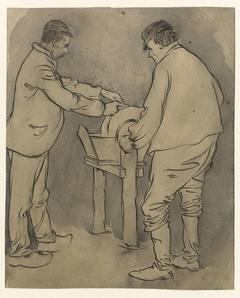 Arbeiders aan een slijpsteen