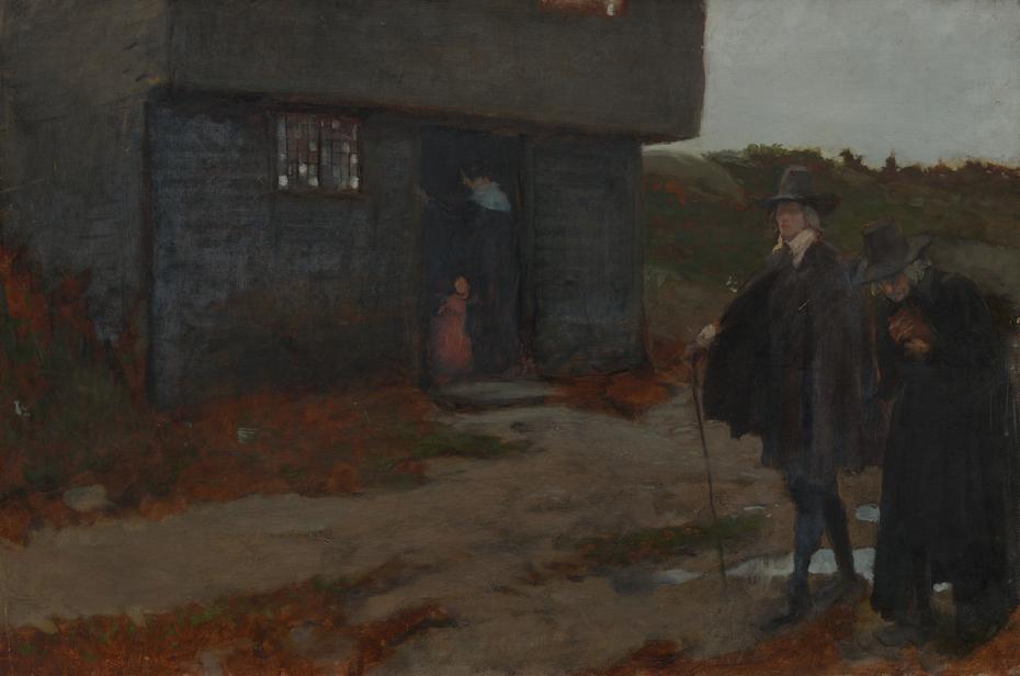 At the Cottage Door (17th Century New EnglandScene)