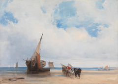 Beached Vessels and a Wagon near Trouville