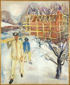 Building Workers in Snow