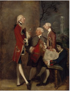 Caricature of Thomas Brudenell, Baron Bruce, the Hon. John Ward, Joseph Leeson, later 2nd Earl of Milltown, and Joseph Henry of Shafford