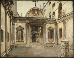 Courtyard of the Scuola Grande di San Giovanni Evangelista, Venice, Italy.