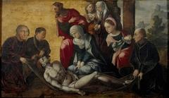 De bewening van Christus met portretten van de familie van Egmond