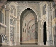 """Del av kuliss till """"Ett fängelse"""", 8 delar: Fondvägg, fängelseinteriör med murade valv och öppning"""