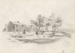 Dorsende vrouwen voor een boerderij in Castelnuovo di Magra te Italië