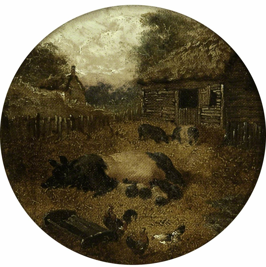 Eight Circular Farmyard Scenes (1. Pigs; 2. Mare and Foal; 3. Cows; 4. Sheep; 5. Chickens; 6. Ducks; 7. Rabbits; 8. Donkey)