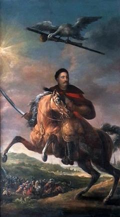 Equestrian portrait of John III Sobieski against the battle of Vienna.