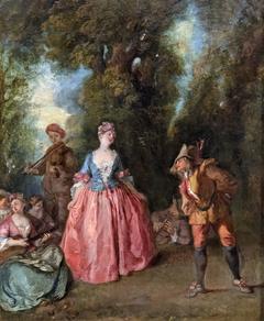 Fête galante représentant une dame dansant avec Pulcinella