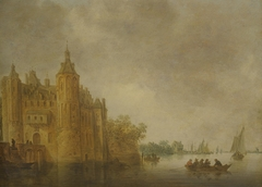 Figures in a rowing boat on a wide river before a large castle