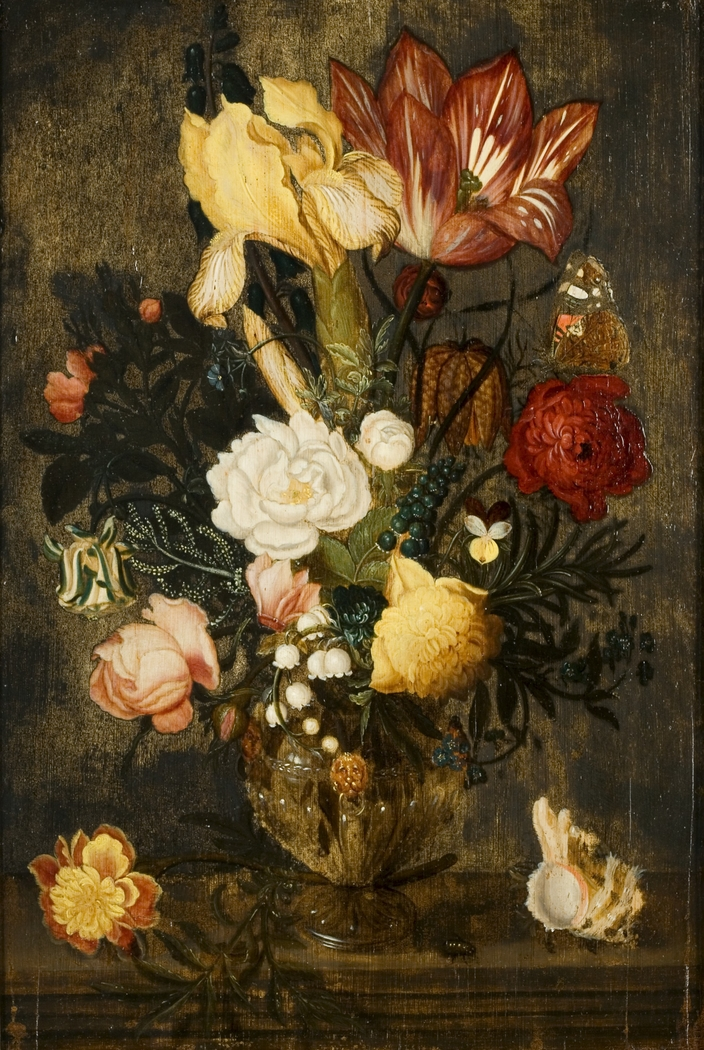 Flowers in a square glass.