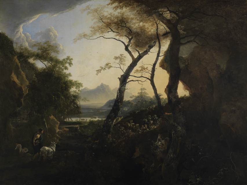 Forest landscape with a peasant and his herd