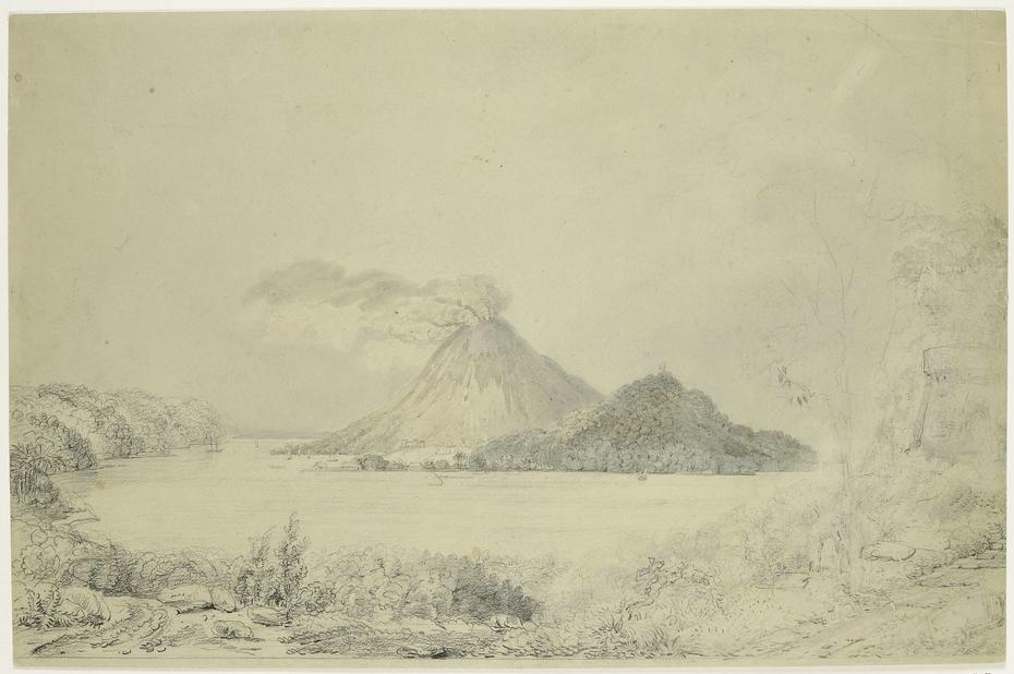 Gezicht vanuit Lontar op Banda Neira en rokende Gunungapi, Banda-eilanden, Centraal-Molukken