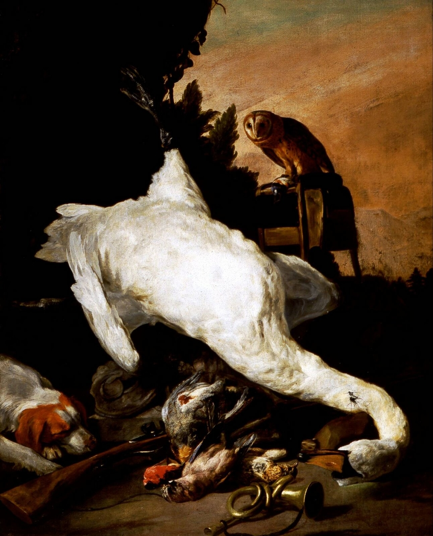 Hunting still life with a swan