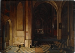 Interior of a Church at Night with a Procession