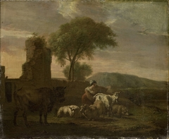 Italian Landscape with Shepherdess and Animals