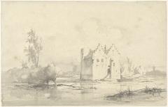 Kasteel Cronenburgh liggend in de moerassig geworden gracht
