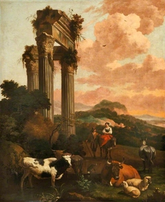 Landscape with Figures, Cattle and Sheep among Classical Ruins
