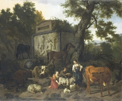 Landscape with Herdsmen and Cattle near a Tomb