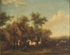 Landscape with Horsemen Resting outside an Inn