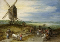 Landscape with mill and carts