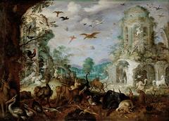 Landschaft mit Tieren (Im Hintergrund: Orpheus und die thrakischen Weiber)