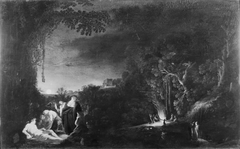 Måneskinslandskab med mytologisk (?) motiv
