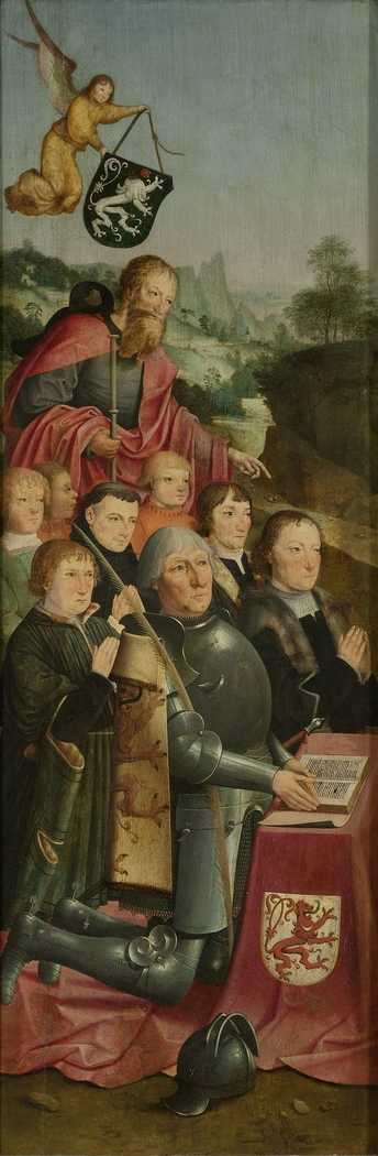Memorial Panel with Eight Male Portraits, probably Willem Jelysz van Soutelande and Family, with Saint James the Greater and the Van Soutelande Family Crest, inner left wing of an altarpiece