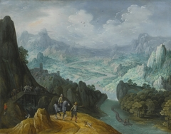 Mountainous river landscape with travelers