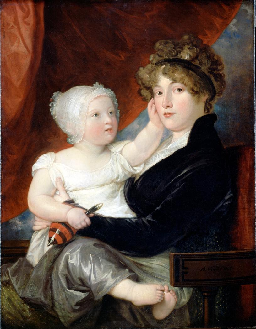 Mrs Benjamin West II with her son Benjamin West III
