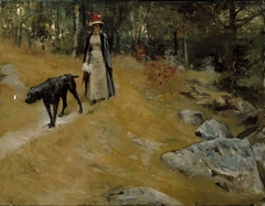 On the Shore Bank (Annie Edelfelt with a Dog)