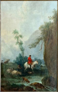 Paysage avec un cavalier suivi d'un troupeau