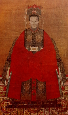 Portrait of a lady in a red robe