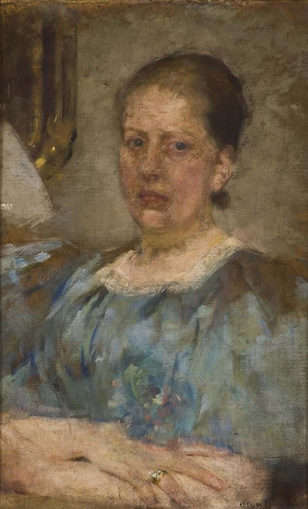 Portrait of a woman in a blue blouse