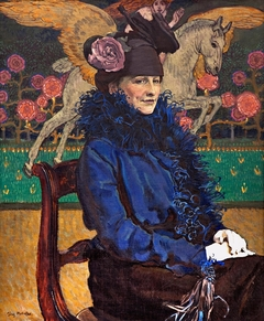 Portrait of artist's wife with Pegasus.