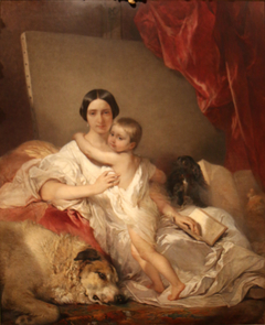 Portrait of Mrs Louis Gallait and her daughter