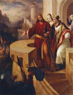 Radbot, Graf von Habsburg zeigt seinem Bruder Bischof Werner seine bewaffneten Getreuen