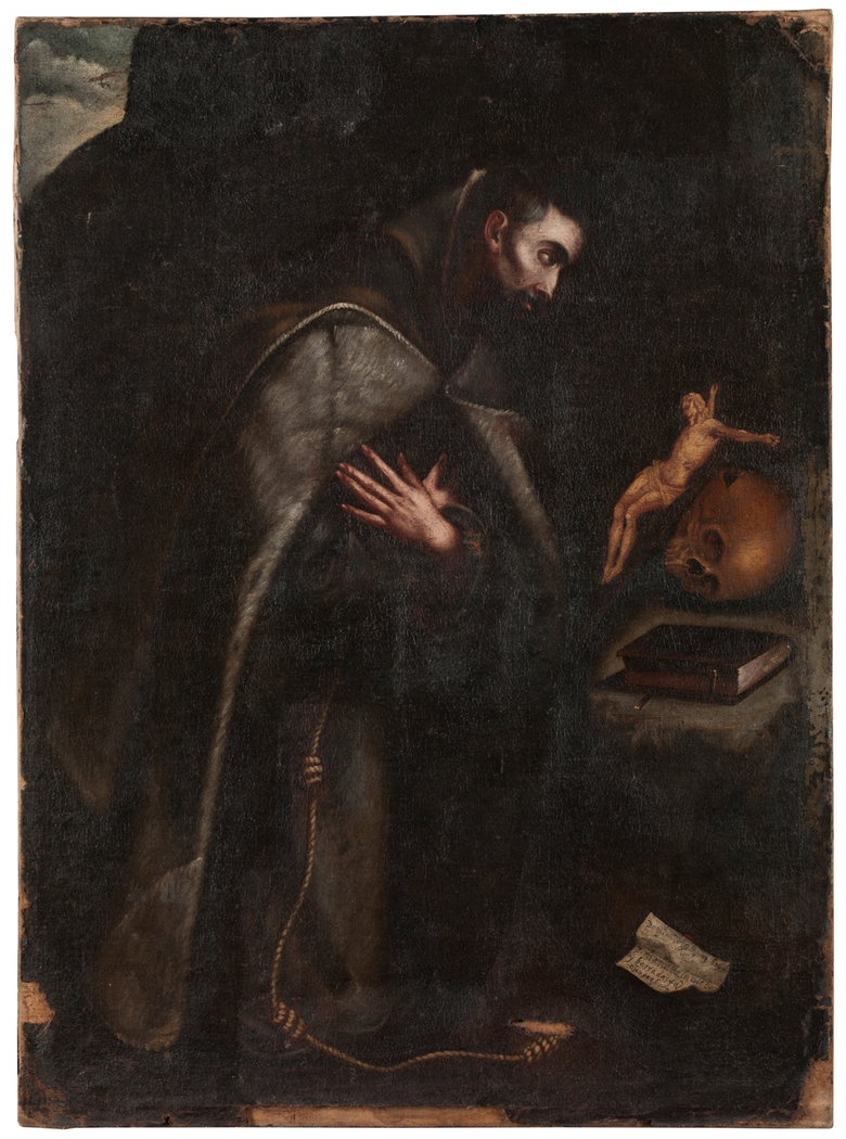 Saint Francis of Assisi kneeling in meditation