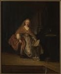 Saskia wearing a rich robe as Bathsheba (alone) with David's letter