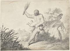Scène uit de Commedia dell'Arte met jongen die slaag krijgt van een man